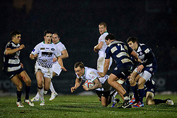 Leeds Carnegie Outside Centre (#13) Josh Griffin is tackled by Bristol Hooker (#2) Ross Johnston during the first half of the match - Photo mandatory by-line: Rogan Thomson/JMP - Tel: Mobile: 07966 386802 25/01/2013 - SPORT - RUGBY - Memorial Stadium - Bristol. Bristol v Leeds Carnegie - RFU Championship.