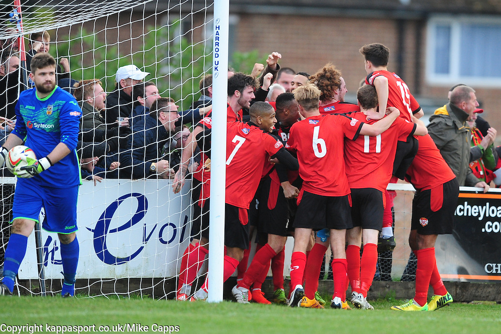 BRETT SOLKHON KETTERING TOWN,  SCISSOR KICKS AND SCORES ON THE REBOUND  KETTERINGS SECOND GOAL AND CELEBRATES, Kettering Town v Weymouth, Evostick Southern League Premier, Latimer Park Saturday 22nd October 2016<br /> Score 3-1
