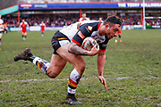 Bradford Bulls second row Elliot Minchella (12) scores a try to make the score 0-4 during the Betfred League 1 match between Keighley Cougars and Bradford Bulls at Cougar Park, Keighley, United Kingdom on 11 March 2018. Picture by Simon Davies.