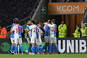 Blackburn Rovers celebrate goal scored by Blackburn Rovers player Derrick Williams (3) to go 0-1 during the EFL Sky Bet Championship match between Hull City and Blackburn Rovers at the KCOM Stadium, Kingston upon Hull, England on 20 August 2019.