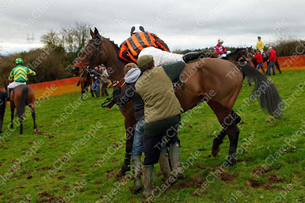 26/02/12<br /> Action from the Parade Ring at Killaloe Point to Point Races on Sunday.<br /> Pic: Don Moloney/Press 22