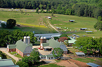 Aerial of College of Veterinary Medicine barn and pastures.