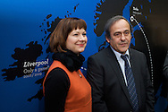 Michel Platini attend at opening of Turku-European Capital of Culture 2011. after his speech he answered to questions by journalist and audience. January 14th, 2011, Turku, Finland. (L-R  , Minna Arve -Michel Platini)