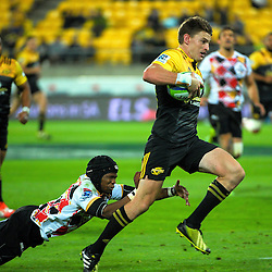 Beauden Barrett scores the last try during the Super Rugby match between the Hurricanes and Southern Kings at Westpac Stadium, Wellington, New Zealand on Friday, 25 March 2016. Photo: Dave Lintott / lintottphoto.co.nz