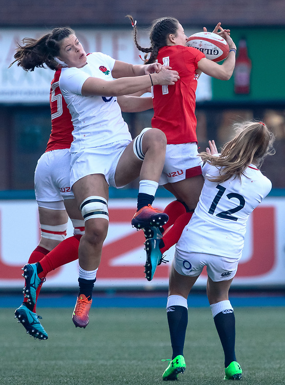 Jasmine Joyce of Wales claims the high ball<br /> <br /> Photographer Simon King/Replay Images<br /> <br /> Six Nations Round 3 - Wales Women v England Women - Sunday 24th February 2019 - Cardiff Arms Park - Cardiff<br /> <br /> World Copyright © Replay Images . All rights reserved. info@replayimages.co.uk - http://replayimages.co.uk