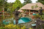 Tourists enjoy restaurant and swimming pool at lodge, Bali, Indonesia.