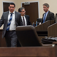Assistant DA Brandon Vigil, front, along with Defense attorneys Robert Don Lohbeck, center, and Jason Wheeless, right, step away from the bench after their discussion with Judge Sanchez. This marked the closing of Day 6 as the two sides would go into negotiations on Monday afternoon of the Green trial at the 13th Judicial District Courthouse in Grants.