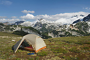 Backcountry camp on Red Face Mountain, North Cascades National Park Washington