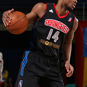 Springfield Armor Guard Lorenzo Brown (14) dribbles the ball down the court in the second half of a NBA D-league regular season basketball game between the Delaware 87ers (76ers) and Springfield Armor (Brooklyn Nets) Saturday, Apr. 05, 2014 at The Bob Carpenter Sports Convocation Center, Newark, DEL.