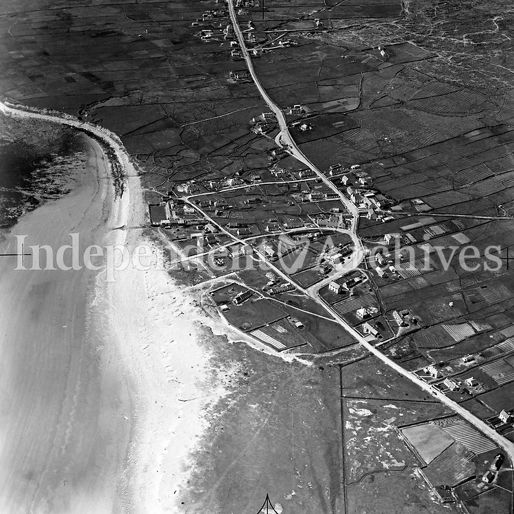 A225 Keel.   21/05/54. (Part of the Independent Newspapers Ireland/NLI collection.)<br /> <br /> <br /> These aerial views of Ireland from the Morgan Collection were taken during the mid-1950's, comprising medium and low altitude black-and-white birds-eye views of places and events, many of which were commissioned by clients. From 1951 to 1958 a different aerial picture was published each Friday in the Irish Independent in a series called, 'Views from the Air'.<br /> The photographer was Alexander 'Monkey' Campbell Morgan (1919-1958). Born in London and part of the Royal Artillery Air Corps, on leaving the army he started Aerophotos in Ireland. He was killed when, on business, his plane crashed flying from Shannon.