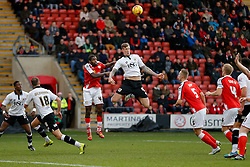 Aden Flint of Bristol City is challenged by Anthony Grant of Crewe Alexandra - Photo mandatory by-line: Rogan Thomson/JMP - 07966 386802 - 20/12/2014 - SPORT - FOOTBALL - Crewe, England - Alexandra Stadium - Crewe Alexandra v Bristol City - Sky Bet League 1.