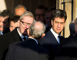 © Licensed to London News Pictures. 13/11/2015. London, UK. LEN MCCLUSKEY (left) and Former Labour party leader ED MILIBAND (right) after The funeral of former Labour MP Michael Meacher at St Mary's Church in Wimbledon, south west London.  Michael Meacher, who was a Labour MP in Oldham for over 40 years, served as Minister of State for the Environment in the Tony Blair government.  Photo credit: Ben Cawthra/LNP