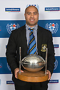 The Silver Football is awarded to the Club with the best average Championship points across all grades. The winner is Ponsonby. Accepting the Silver Football is Premier Coach, Peter Leulusoo. Auckland Rugby Union Awards 2016, Eden Park, Auckland, New Zealand on Wednesday, October 26, 2016. Copyright photo: David Rowland / www.photosport.nz