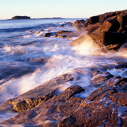 Schoodic Harbor, Acadia N.P., ME. Rocky Coast. Schoodic Peninsula. Sunlight hits the waves.