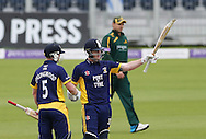 Ben Stokes of Durham County Cricket Club acknowledges the crowd after hitting a century and is congratulated by Paul Collingwood (l) during the Royal London One Day Cup match at Emirates Durham ICG, Chester-le-Street<br /> Picture by Simon Moore/Focus Images Ltd 07807 671782<br /> 06/09/2014