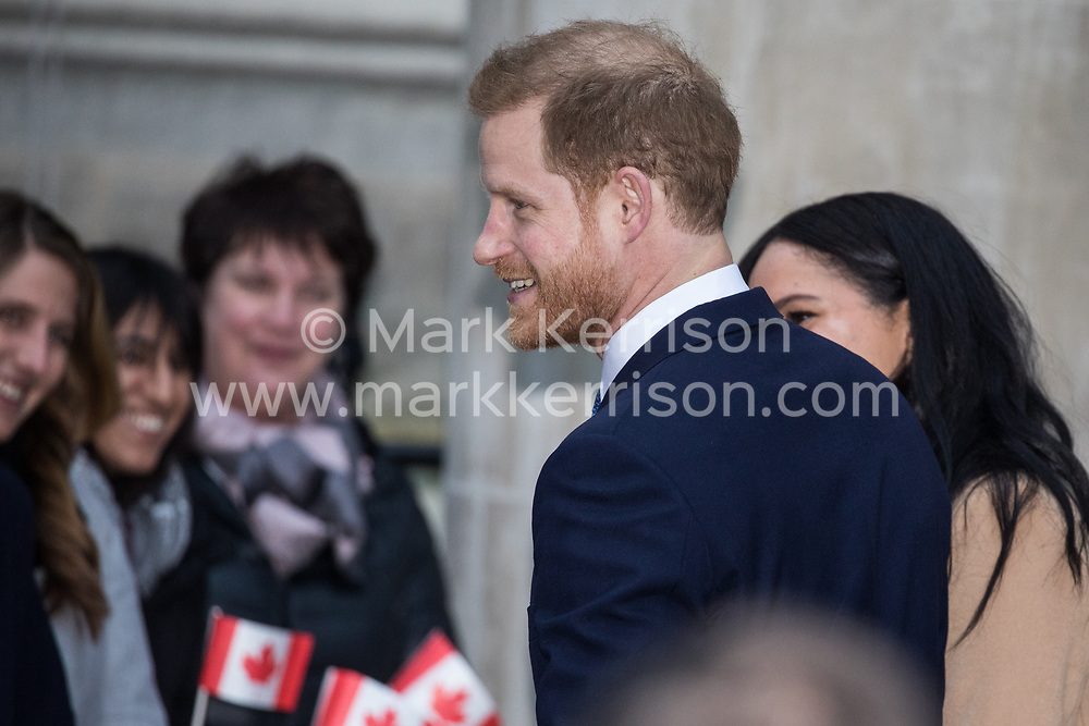 "London, UK. 7 January, 2020. The Duke and Duchess of Sussex arrive at Canada House in Trafalgar Square to thank the High Commissioner for the ""warm hospitality"" and support received by them during a six-week sabbatical in Canada over Thanksgiving and Christmas."
