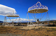 Parabolic discs at the solar energy scientific research centre, Tabernas, Almeria, Spain