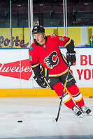 PENTICTON, CANADA - SEPTEMBER 10: Glenn Gawdin #80 of Calgary Flames warms up against the Vancouver Canucks on September 10, 2017 at the South Okanagan Event Centre in Penticton, British Columbia, Canada.  (Photo by Marissa Baecker/Shoot the Breeze)  *** Local Caption ***