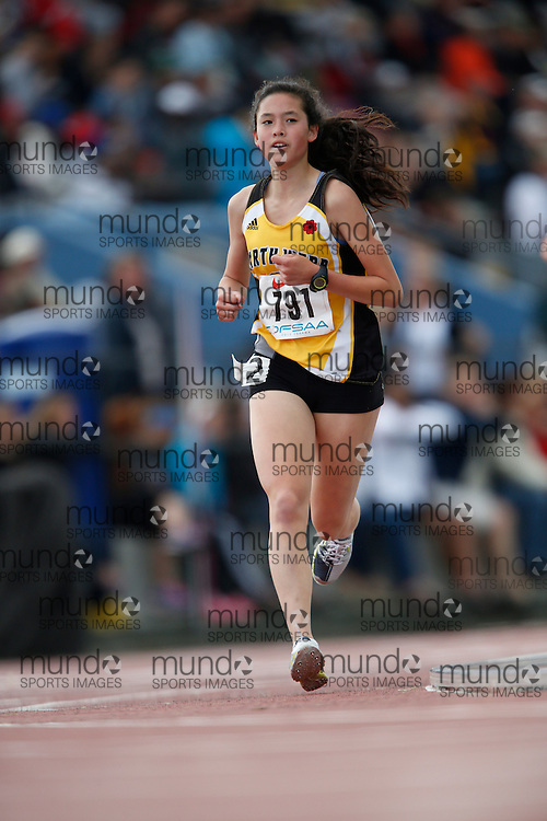 Allison Chan of Garth Webb SS - Oakville competes in the midget girls 3000m at the 2013 OFSAA Track and Field Championship in Oshawa Ontario, Saturday, June 8, 2013.<br /> Mundo Sport Images/ Geoff Robins