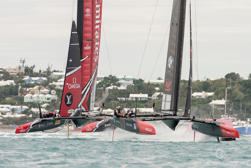 The Great Sound, Bermuda, 24th June 2017, Oracle Team USA beats Emirates Team New Zealand to the first mark in race six and went on to win the race. Day three of racing in the America's Cup presented by louis Vuitton.