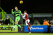 Forest Green Rovers Nathan McGinley(19) heads the ball clear during the EFL Trophy group stage match between Forest Green Rovers and U21 Arsenal at the New Lawn, Forest Green, United Kingdom on 7 November 2018.