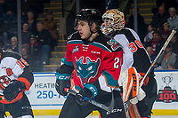 KELOWNA, CANADA - NOVEMBER 25: Kyle Topping #24 of the Kelowna Rockets skates against the Medicine Hat Tigers on November 25, 2017 at Prospera Place in Kelowna, British Columbia, Canada.  (Photo by Marissa Baecker/Shoot the Breeze)  *** Local Caption ***
