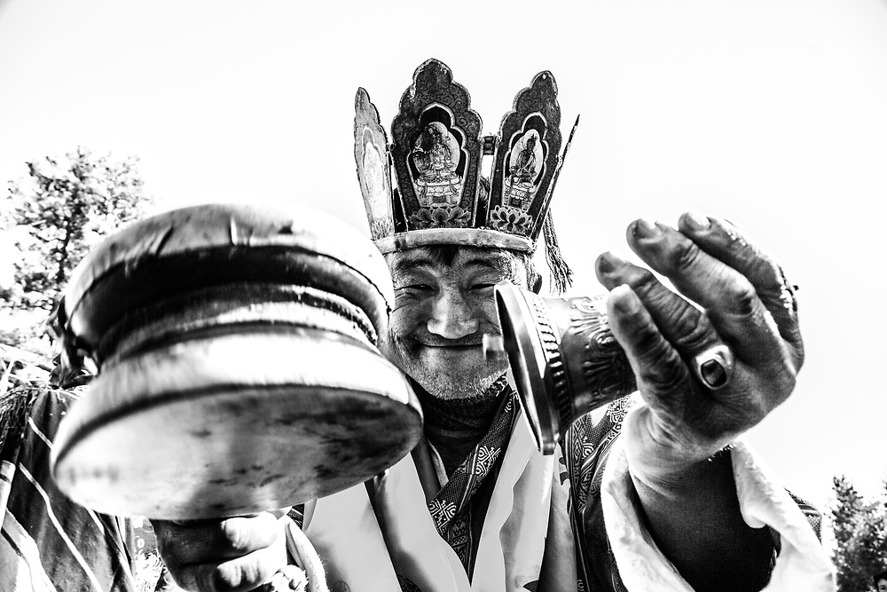 A holy man has fun with the camera, in Bhutan. I was privileged to have been the only foreigner at this Bon religious ceremony.