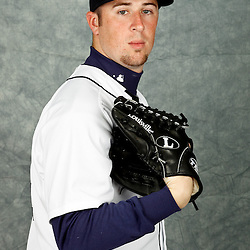 February 28, 2012; Lakeland, FL, USA; Detroit Tigers relief pitcher Matt Hoffman (44) poses for photo day in the rec room at the Detroit Tigers Headquarters.  Mandatory Credit: Derick E. Hingle-US PRESSWIRE