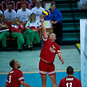 Katowice, Poland - 2017 September 01: Zygmunt Chajzer tv journalist (Ambassador of Special Olympics Poland) spikes the ball while Opening Ceremony during European Unified Volleyball Tournament 2017 at Spodek Hall on September 01, 2017 in Katowice, Poland.<br /> <br /> Adam Nurkiewicz declares that he has no rights to the image of people at the photographs of his authorship.<br /> <br /> Picture also available in RAW (NEF) or TIFF format on special request.<br /> <br /> Any editorial, commercial or promotional use requires written permission from the author of image.<br /> <br /> Image can be used in the press when the method of use and the signature does not hurt people on the picture.<br /> <br /> Mandatory credit:<br /> Photo by &copy; Adam Nurkiewicz / Mediasport