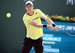 March 15, 2019 - Indian Wells, CA, U.S. - INDIAN WELLS, CA - MARCH 15: Hubert Hurkacz (POL) hits a backhand during the quarterfinals of the BNP Paribas Open on March 15, 2019, at the Indian Wells Tennis Gardens in Indian Wells, CA. (Photo by Adam Davis/Icon Sportswire) (Credit Image: © Adam Davis/Icon SMI via ZUMA Press)