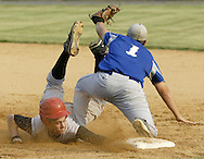 Tuxedo's Dino Gioffre dives back to first base to avoid a double play as Millbrook's Blaec Shaw takes the throw during the Section 9 Class C championship game at SUNY New Paltz on June 1, 2007.