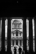 London. UK - Greenwich , Royal Naval College columns London King William Court in Royal Naval College (designed by Sir Christopher Wren), Greenwich, London SE10 England  / greenwich , college royal