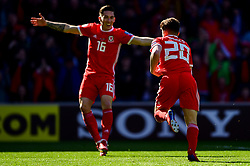 Daniel James of Wales celebrates scoring his sides first goal of the game  - Mandatory by-line: Ryan Hiscott/JMP - 24/03/2019 - FOOTBALL - Cardiff City Stadium - Cardiff, United Kingdom - Wales v Slovakia - UEFA EURO 2020 Qualifier