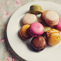 A plate of macaroons in various colours