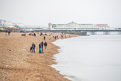 © Licensed to London News Pictures. 17/03/2019. Brighton, UK. Members of the public take to the beach in Brighton and Hove as milder weather hits Brighton and the South Coast. Photo credit: Hugo Michiels/LNP