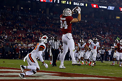PALO ALTO, CA - NOVEMBER 10: Tight end Colby Parkinson #84 of the Stanford Cardinal catches a pass for a touchdown in front of safety Jeffrey Manning Jr. #15 of the Oregon State Beavers during the second quarter at Stanford Stadium on November 10, 2018 in Palo Alto, California. (Photo by Jason O. Watson/Getty Images) *** Local Caption *** Colby Parkinson; Jeffrey Manning Jr.