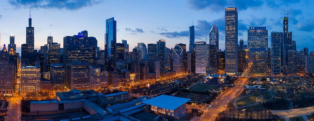 Chicago Loop and Skyline Aerial Photography from Grant Park