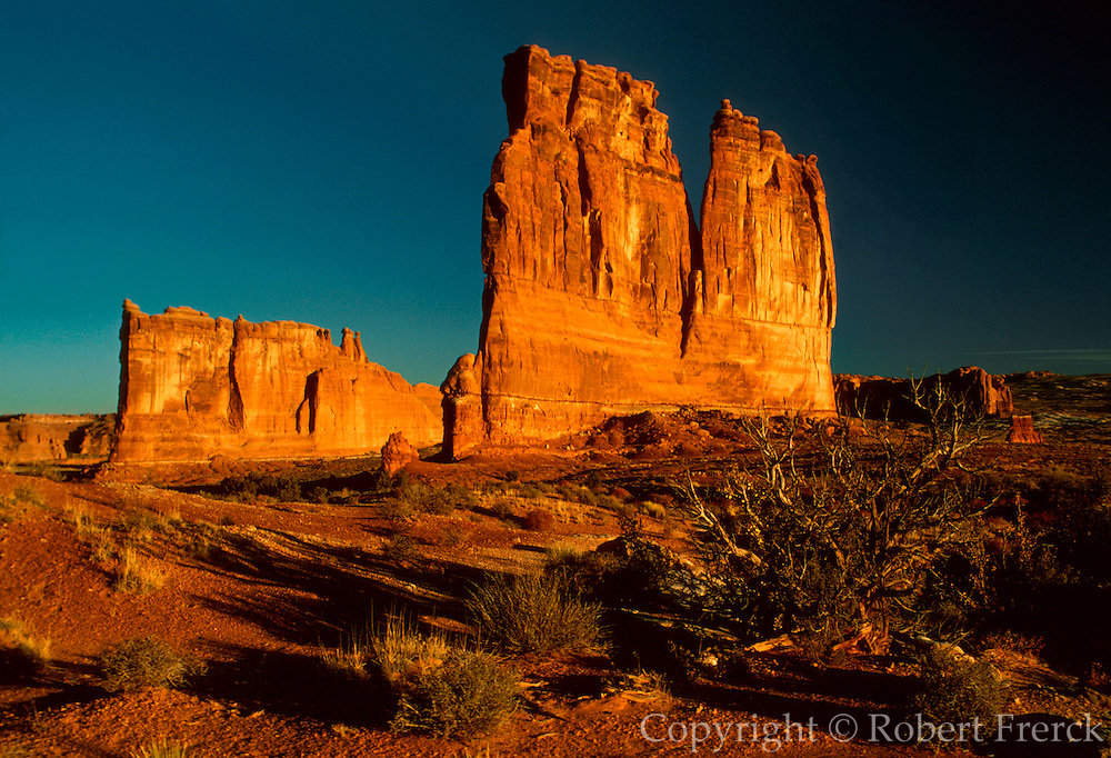 UTAH, ARCHES NATIONAL PARK 'Courthouse Tower' famous sandstone rock formation showing the effects of wind and water erosion, near Moab