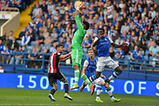 Sheffield United goalkeeper Jamal Blackman (27) claims a cross during the EFL Sky Bet Championship match between Sheffield Wednesday and Sheffield Utd at Hillsborough, Sheffield, England on 24 September 2017. Photo by Adam Rivers.
