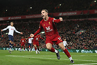Football - 2019 / 2020 Premier League - Liverpool vs. Tottenham Hotspur<br /> <br /> Jordan Henderson of Liverpool celebrates scoring his sides equalising goal to make the score 1-1, at Anfield.<br /> <br /> COLORSPORT/PAUL GREENWOOD