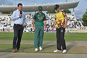 The toss before the NatWest T20 Blast Quarter Final match between Notts Outlaws and Somerset County Cricket Club at Trent Bridge, West Bridgford, United Kingdom on 24 August 2017. Photo by Simon Trafford.