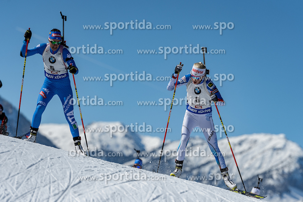 19.02.2017, Biathlonarena, Hochfilzen, AUT, IBU Weltmeisterschaften Biathlon, Hochfilzen 2017, Massenstart Damen, im Bild Alexia Runggaldier (ITA), Kaisa Makarainen (FIN) // Alexia Runggaldier of Italy and Kaisa Makarainen of Finland during Womens Masstart of the IBU Biathlon World Championships at the Biathlonarena in Hochfilzen, Austria on 2017/02/19. EXPA Pictures © 2017, PhotoCredit: EXPA/ Stefan Adelsberger