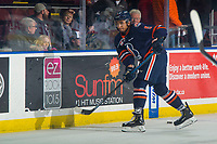 KELOWNA, BC - FEBRUARY 23: Montana Onyebuchi #5 of the Kamloops Blazers takes a shot during warm up against the Kelowna Rockets at Prospera Place on February 23, 2019 in Kelowna, Canada. (Photo by Marissa Baecker/Getty Images)