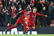 Liverpool forward Sadio Mane (10) celebrates his goal during the Premier League match between Liverpool and Everton at Anfield, Liverpool, England on 4 December 2019.