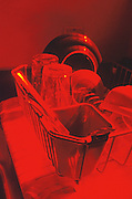 Dishes in the strainer as seen through a red filter..2000