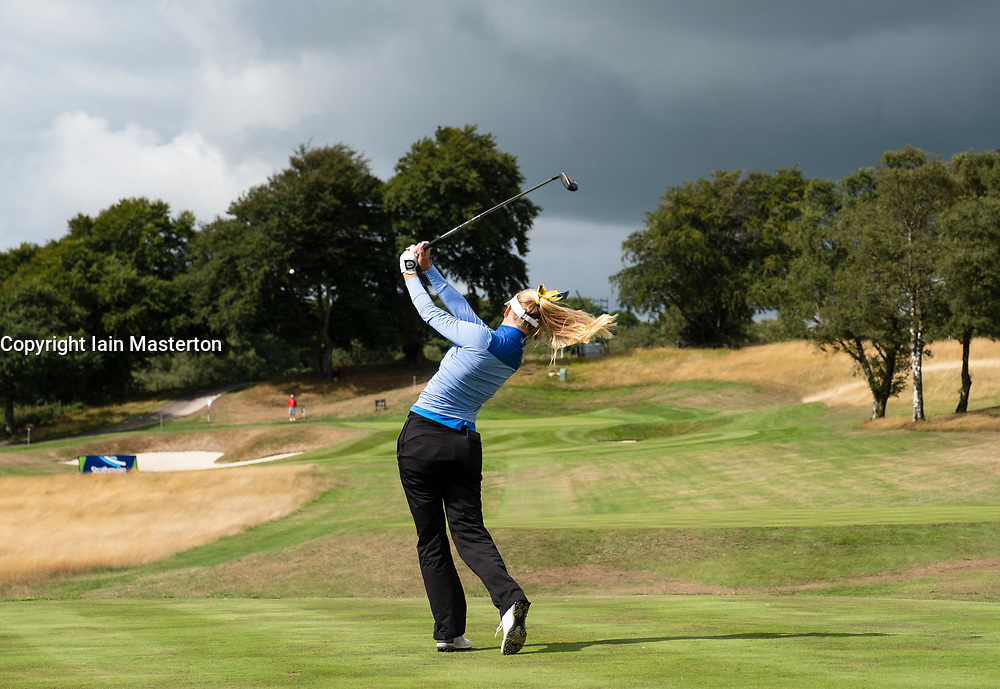 Gleneagles, Scotland, UK; 9 August, 2018.  Day two of European Championships 2018 competition at Gleneagles. Men's and Women's Team Championships Round Robin Group Stage - 2nd Round. Four Ball Match Play format. Julia Engstrom of Sweden tees off