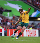 Australia's fly half Bernard Foley scoring another penalty during the Rugby World CupPool A match between Australia and Wales at Twickenham, Richmond, United Kingdom on 10 October 2015. Photo by Matthew Redman.