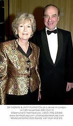 SIR THOMAS & LADY PILKINGTON at a dinner in London on 14th November 2001.OUF 31