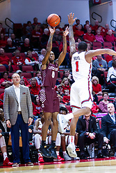 NORMAL, IL - November 10: Ben Coupet Jr. defended by Dedric Boym during a college basketball game between the ISU Redbirds and the Little Rock Trojans on November 10 2019 at Redbird Arena in Normal, IL. (Photo by Alan Look)