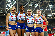 The Great Britain relay team after the Women's 4x400m relay during the Athletics World Cup at the London Stadium, London, England on 14 July 2018. Picture by Toyin Oshodi.